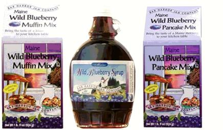 blueberry sampler, muffin mix, pancake mix and syrup